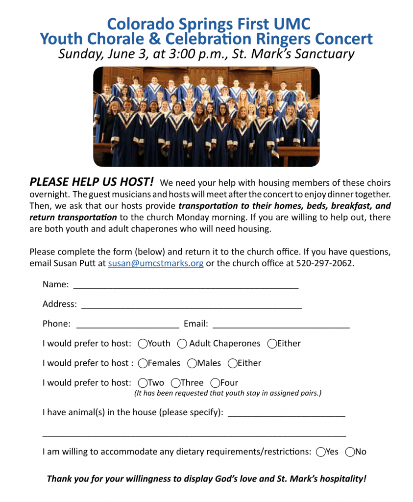Youth Chorale and Celebration Ringers Concert Form