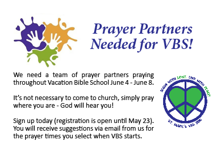 Prayer Partners Needed for VBS